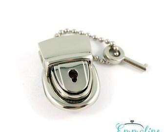 Press Lock - Mama Press Lock with KEY - In Nickel Finish