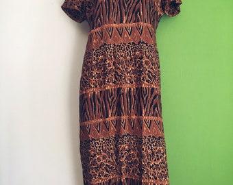 90's blocked animal print dress (long)