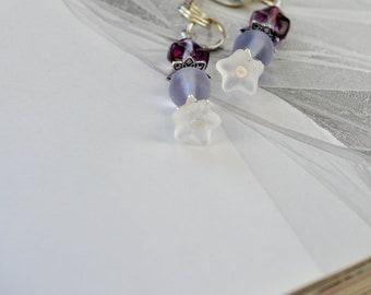 Light Purple Flower Book Thong Beaded Bookmark, Cord String Bookmark, Readers gift, Book nerd bookmark, Book club