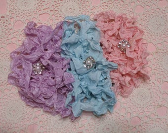 15 yards of Pretty Ribbons-EASTER EGGS-Seam Binding-Crinkled-ATC-Supplies