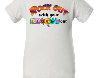 Rock Out with Your Blocks Out Onesie, Rock Out Baby Gift