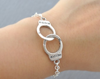 Large Handcuffs Bracelet in silver, hand cuffs, freedom, hand cuffs, fun jewelry, simple everyday jewelry by jewelmango