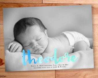 Baby Boy Announcement, Watercolor, Birth Announcement, Script, Typography,Custom Baby Announcement, Printable, Custom Photo Card