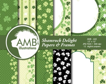 Irish papers, St Patrick's Day papers, Shamrock, scrapbook, Shamrock Frames, Digital Backgrounds, Commercial Use, AMB-442