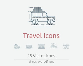 Travel Icon Set in Vector and PNG for web and print