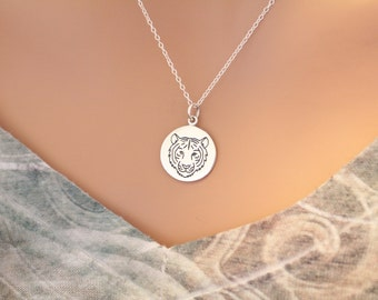 Sterling Silver Tiger Charm Necklace, Tiger Necklace, Tiger Face Necklace, Etched Tiger Necklace, Tiger Pendant Necklace, Silver Tiger Charm