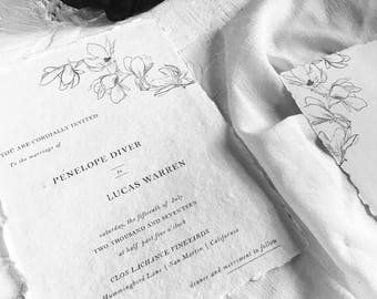 Custom Calligraphy Wedding Florals | Calligraphy Wedding Invitation | Organic Romantic | Ethereal | Handmade Paper Suite | Magnolia Style