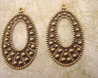 4 brass ox art nouveau oval hoops embossed notched charm 35mm