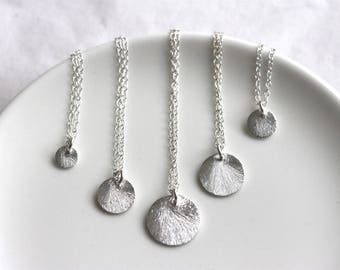 Sterling Silver Disc Necklace, Brushed Silver Coin, Dainty Layering Necklace, Simple Everyday Jewelry