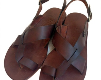 AIAS: Toe Thong Sling Back Leather Sandal Handmade leather sandal custom size available