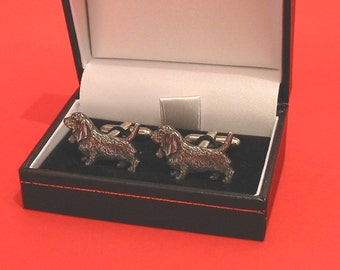 Basset Hound Design Pewter Cuff-links Gift Boxed Basset Hound Owner Gift