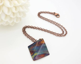 diamond copper necklace flame painted necklace flame painted pendant copper pendant torch painted copper necklace fire torched copper