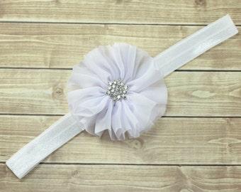 White Flower Headband, White Headband, White Flower Girl Headband, Baptism Headband, White Flower Clip, Newborn Headband, Flower Girl Halo