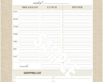 """Life's Lists Printable 8.5""""x11"""" Letter Size Meal Planning List"""