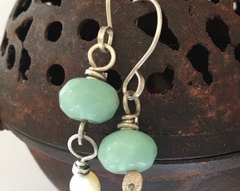 Chrysoprase and Freshwater Pearl Dangle Earrings