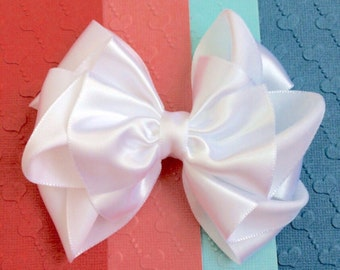 White Satin Hair Bow, Satin hair bow for flower girls, Baby Hair Bow, bridal hair bow, wedding hair bow, special occasion