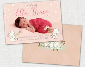 Baby Announcement Card / Baby Girl Announcement Card / Bunny Baby Announcement Card / Photo Baby Announcement