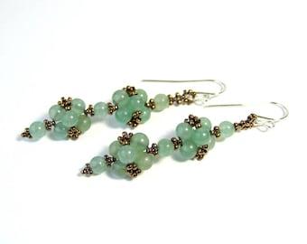 Green Aventurine Earrings, Light Green Earrings, Beadwork, Unique Handmade, Sterling Silver, Boho Jewelry, Beadwoven, Gift For Her, Dangle