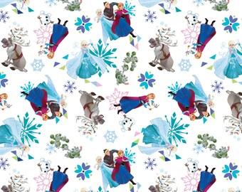 """Disney Frozen Fabric - """"Frozen Friends Tossed"""" on white, yard"""