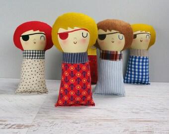 Pirate Baby - custom made doll, shower gift, rag doll, gift for boy or girl, boy pirate, girl pirate, custom doll