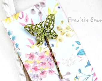 Paperclip Butterfly vintage OCHRE Boho hair clip patina ochre sunflower yellow Yellow