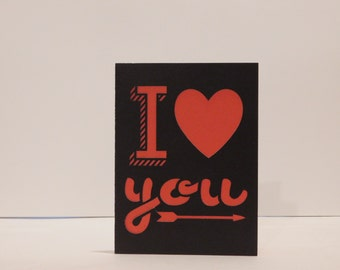 I love you Valentine's Day card, blank greeting card, romance, Hearts and arrows