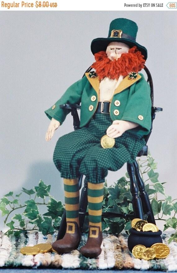 ON SALE Robbie - Mailed Cloth Doll Pattern 20in Saint Patricks Day Irish Leprechaun