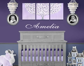 Purple Gray Nursery Art, Lilac and Gray Decor for Baby Girl, Large Wall Art Canvas, Flowering Tree Painting Triptych - 50x20