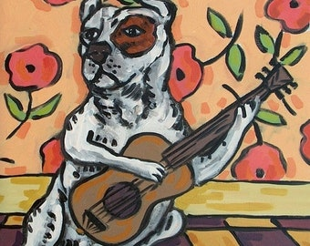 25% off Pit Bull Terrier Playing Guitar Dog Art Tile Coaster Gift