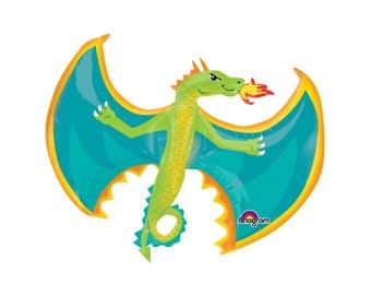 "31"" Dragon Balloon - Dragon Birthday Party Decorations, Knight and Dragon, Knight Birthday, Dragon Party Supplies, Dragon Baby Shower Decor"