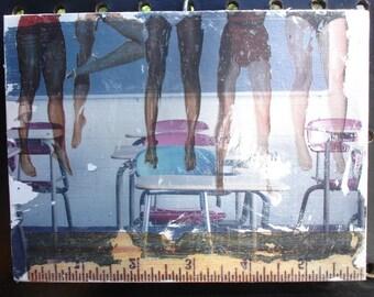 Original Collage Art - School Classroom Desks Students
