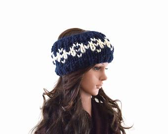 Chunky Fair Isle Nordic Style Knitted Ear Warmer, Woman Knit Headband, Ski Ear Warmer | The Holli