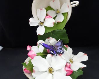 Unique Centerpiece Floating Teacup - Apple Blossoms, Buds, and Butterflies