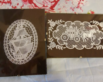two vintage framed needle  lace moifs