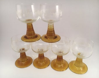 Vintage Amber Glass Barware - Vintage Amber Barware - Set of 6 - Vintage Barware - Barware - Vintage Roemer Wine Glass - Vintage Wine Glass