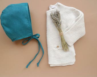 SALE Baby girl/boy linen bonnet Bluemarine