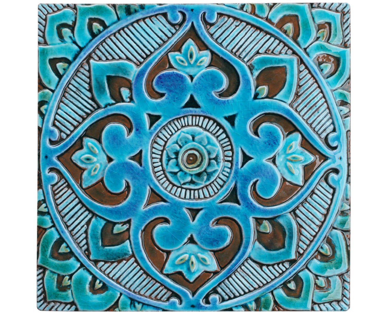 Mandala wall hanging made from ceramic exterior wall art zoom dailygadgetfo Gallery