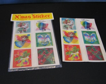 196o's lenticular christmass sticker sheets NOS