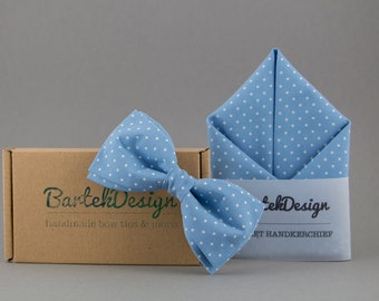 Matching Set Bow Tie Pocket Square Blue Bow Tie Blue Handkerchief Sky Blue Bow Tie Polka Dots Handkerchiefs Grooms Gift for Men Wedding Bow