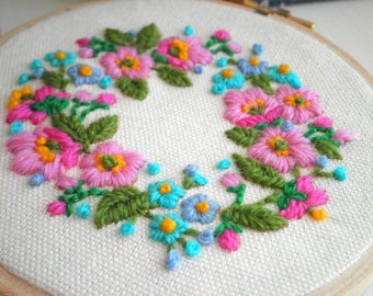 Embroidered Floral Wreath Hoop Art / Wall Art, Vintage Crewel Handmade Flower Embroidery Textile / Fiber Arts, Stitched Flowers Gift for Her