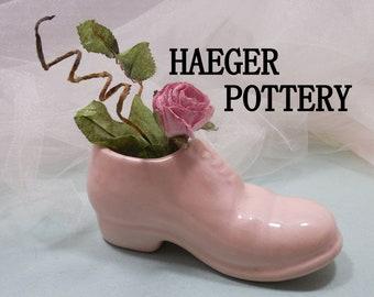 Haeger Pottery Shoe, Haeger Planter, Vintage Pottery, Palest Pink Salmon, Shoe, Grandma Robins, Shoe Planters, Pottery, RePurposing Planters