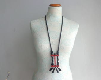 Long black necklace, red black necklace, geometric necklace red black