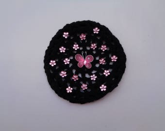 Medium Bun Cover with Pink Flower Rhinestones and Butterfly, Many Colors, Crochet Bun Cover, Bun Wrap, Bun Holder, Snood, Ballet