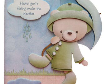 Get Well Card 3D Decoupage Card Rainy Day Bear Heard You're Feeling Under The Weather You'll Soon Be Right As Rain Get Well Soon Card