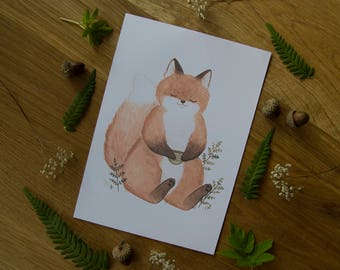 Fox Tea Time - Art Print