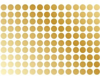 Gold Metallic Polka Dot Wall Decal Nursery Kids Room Peel and Stick Circle Sticker Metallic Wedding Removable Reusable 150 Dots Included
