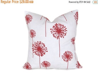 15% Off Sale Coral Pillow.Euro Pillow Cover.Euro Pillow Sham.24x24. Floor Cushions.Coral and White. Home Decor.HouseWares.Printed Fabric on