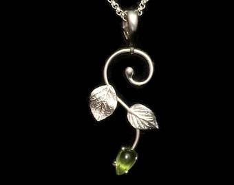 Hydrangea Leaf Pendant/Enhancer/Necklace Slide~Sterling Silver & Green Peridot~Gardener's Jewelry~Artist Hand Made Jewelry~Gingko Leaves