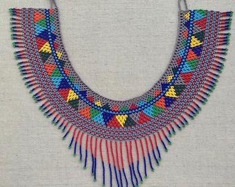 Azteca Necklace//Huichol Choker Necklace//Huichol Art//Chaquira//Presents//Gifts for mom//women