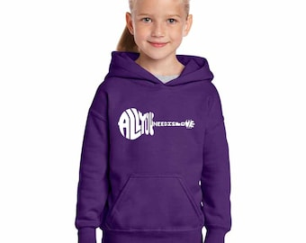 Girl's Hooded Sweatshirt - All You Need Is Love Created Out of The Words All You Need is Love